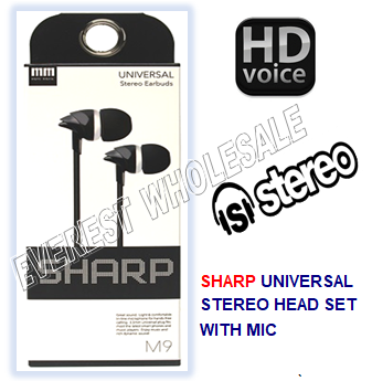 Sharp Universal Earbuds with Microphone * Black