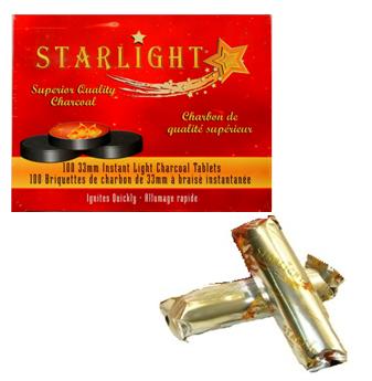 Starlight Hookah Charcoal Tablets 33 mm * 100 ct / Box