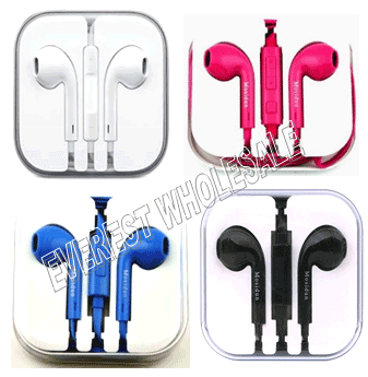Stereo Earphone with Microphone BASS * Assorted Colors * 6 pcs