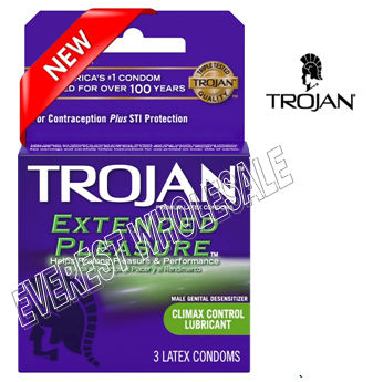 Trojan Condom 3 in Pack * Extended Pleasure * 6 pks