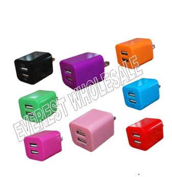 USB Dual Wall Charger * Assorted Colors * 12 pcs