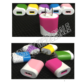 USB Single Port Wall Charger * Assorted Colors * 12 pcs