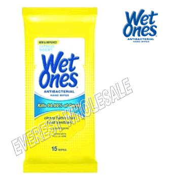 Wet Ones Wet Wipes 15 ct * Citrus Scent * 12 pks