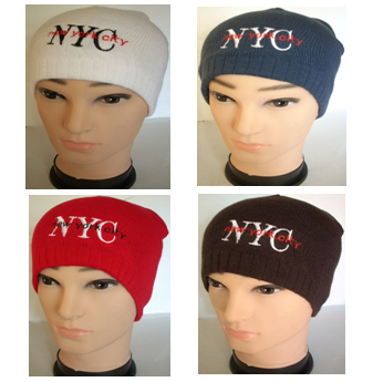 Winter Hat NYC Assorted Colors * 6 pcs