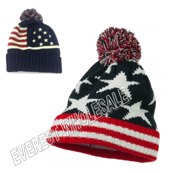 Winter Hat American Flag Polar Fleece * 6 pcs