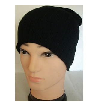 Winter Hat Knit Plain Black * 6 pcs
