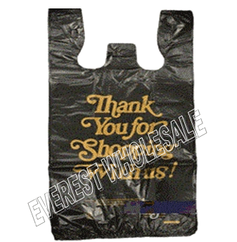 1/6 Black Plastic Shopping Bag 20 Micron * Thank You Gold Printed * 600 ct