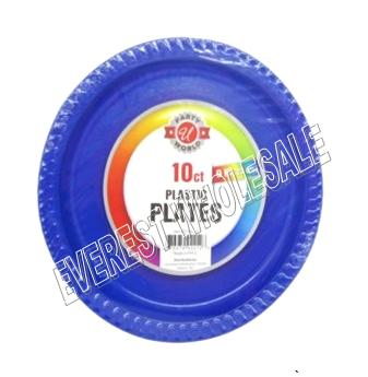 Plastic Plate 9 inch 10 ct * Blue Color * 12 pcs