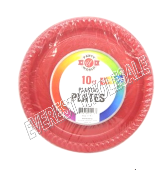 Plastic Plate 9 inch 10 ct * Red Color * 12 pcs