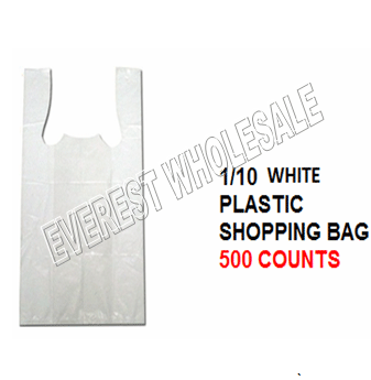 1/10 White Plastic Shopping Bag 20 Micron 500 ct
