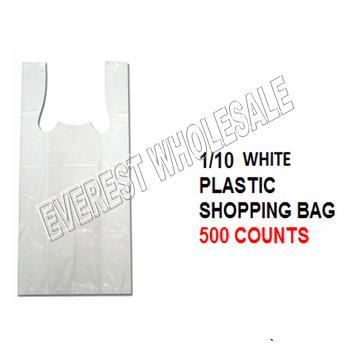 1/10 White Plastic Shopping Bag 20 Micron 500 ct